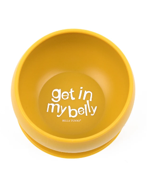 """Gold bowl with the words """"Get in my belly"""""""